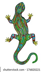 Magic lizard. Ornate lizard with ethnic pattern. Rich colored reptile. In Art Nouveau style, like stained glass. Object is isolated on white. Vector file is grouped EPS8, all elements are grouped.