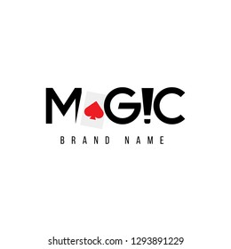 the magic logo with the ace card between letters and exclamation marks replacing the shape of the letter i