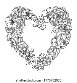 Magic love composition in doodle style. Floral, ornate, decor design. Black and white background. Flowers heart shape wreath. Zentangle coloring book page - Vector Valentines day template