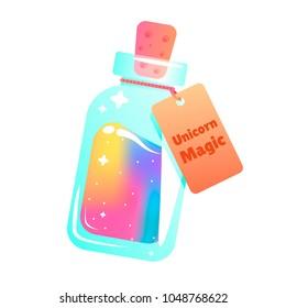 The magic mana of a unicorn. Rainbow liquid with star in the bottle. Vector cartoon illustration