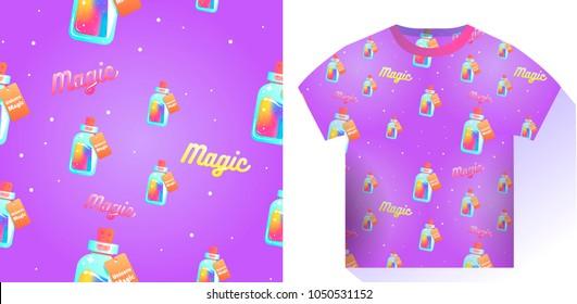 The magic mana of a unicorn seamless pattern. Rainbow liquid with star in the bottle. Vector cartoon illustration