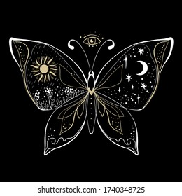 Magic medieval sun and moon on butterfly tattoo and t-shirt design. Alchemical symbol of the sun, moon phase coloring book