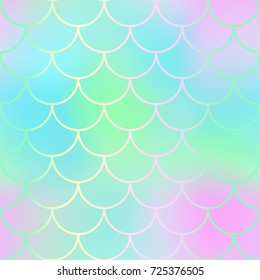 Magic mermaid fishscale pattern. Abstract blurry vector background. Fantastic fish skin seamless pattern. Mermaid scale background. Pastel colors fish scale seamless tile. Green blue blurred mesh