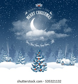 Magic Merry Christmas night for greeting card. Half moon in clouds, stars and snowfall. Flying Santa Claus with reindeers silhouette on moon background over winter landscape. Vector illustration.