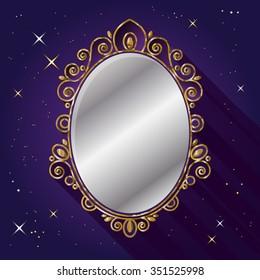 Magic Mirror. Snow White fairy tale symbol.