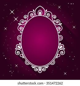 Magic Mirror vector illustration. Vintage Royal oval frame. Fashion background.