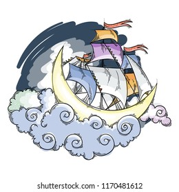 Magic moon flying ship in clouds above the sky. Fairy dreamland sailor, vector illustration for children book, cards, pages, prints.