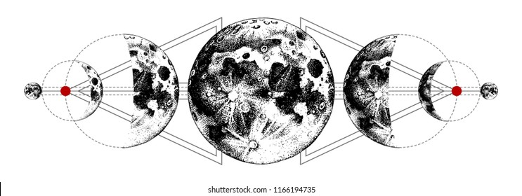 Magic moons tattoo with secret geometry symbols. Hand drawn vector illustration