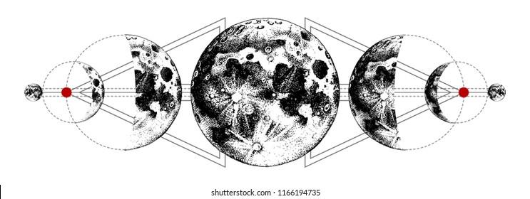 Magic moons tattoo with secret geometry symbols. Hand drawn vector illustration