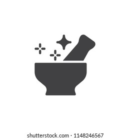 Magic mortar and pestle vector icon. filled flat sign for mobile concept and web design. Fantasy potion simple solid icon. Symbol, logo illustration. Pixel perfect vector graphics