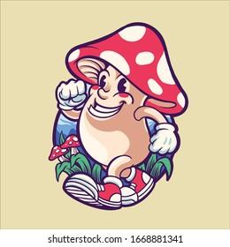 magic mushroom character illustration design