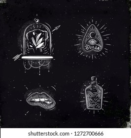 Magic and mystic signs and symbols head, tablet pointer, lips, bottle drawing with chalk on chalkboard