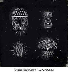 Magic and mystic signs and symbols hot air balloon, hourglass, hand, tree of life drawing with chalk on chalkboard