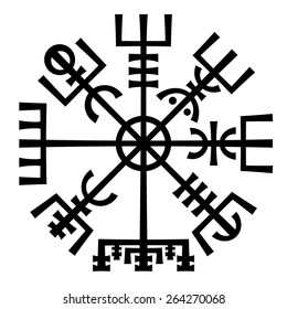 «Vegvisir». The Magic Navigation Compass of Vikings. Runescript from Ancient Medieval Icelandic Manuscript Book. Talisman for luck road and good voyage.