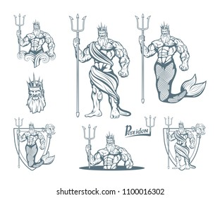 Magic neptune set. Poseidon. World of fantasy. Hand drawn poseidon. Neptune head. Vector artwork.