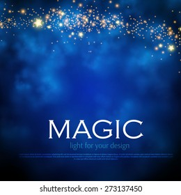 Magic night background with stars. Vector illustration