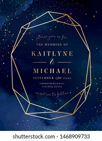 Magic night dark blue card with sparkling glitter and line art crystal. Diamond shaped vector wedding invitation. Gold glitter powder splash background. Golden scattered dust. Fairytale magic card