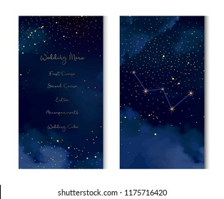 Magic night dark blue sky with sparkling stars vector vertical banner. Cassiopeia galaxy. Gold glitter powder splash background. Golden scattered dust. Midnight milky way. Fairytale magic cards.