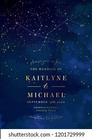Magic night dark blue sky with sparkling stars vector wedding invitation. Andromeda galaxy. Gold glitter powder splash background. Golden scattered dust. Midnight milky way. Fairytale magic card.