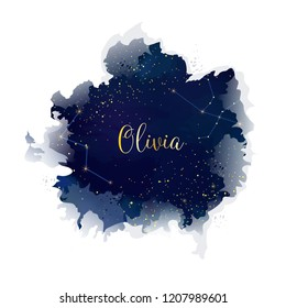 Magic night dark blue sky with sparkling stars vector wedding name card. Andromeda galaxy. Gold glitter background. Golden scattered dust. Midnight milky way. Watercolor splash style.