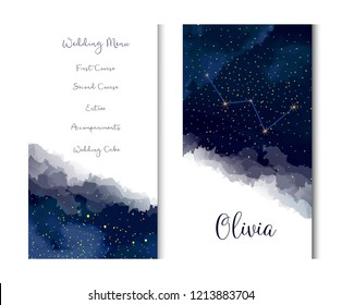 Magic night dark blue sky with sparkling stars vector vertical banner. Cassiopeia galaxy. Gold glitter powder splash background. Golden scattered dust. Midnight milky way. Watercolor painting cards