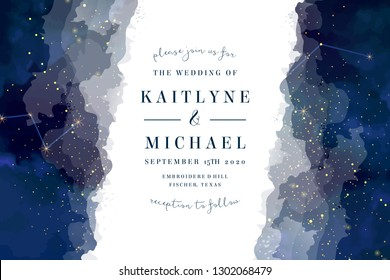 Magic night dark blue sky with sparkling stars vector wedding invite card. Andromeda galaxy.Gold glitter splash horizontal background. Golden scattered dust. Midnight milky way. Watercolor painting
