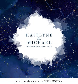 Magic night dark blue sky with sparkling stars vector wedding invite card. Andromeda galaxy.Gold glitter splash round background. Golden scattered dust. Midnight milky way. Watercolor painting