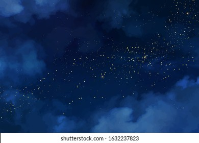 Magic night dark blue sky with sparkling stars. Gold glitter powder splash vector background. Golden scattered dust. Midnight milky way. Navy classic blue color. Christmas winter texture with clouds.