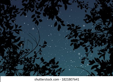 Magic night dark navy card with black tree branches. Summer outdoor starry sky vector wedding texture. Save the date elegant background. White scattered star dust. Fairytale magic card. Editable.