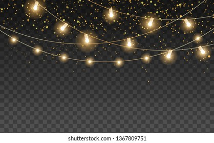 Magic night lights vector design element. Party hanging lamp garlands. Gold stars and glow. Golden scattered dust. Stylish fashion texture with transparent backdrop imitation. Shining shimmer design.