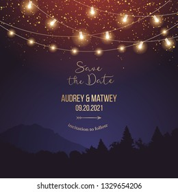 Magic night wedding lights vector design invitation. Party hanging lamp garlands. Landscape purple background. Gold stars and glow. Golden scattered dust. Midnight fairytale card.Isolated and editable