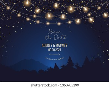 Magic night wedding lights vector design invitation. Party hanging lamp garlands. Landscape blue background. Gold stars and glow. Golden scattered dust. Midnight fairytale card.Isolated and editable
