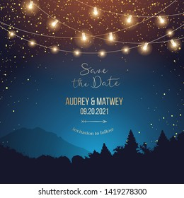 Magic night wedding lights vector design invitation. Party hanging lamp garlands. Landscape teal and orange background. Gold stars. Golden scattered dust. Midnight fairytale card.Isolated and editable