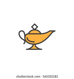 Magic oil lamp line icon, filled outline vector sign, linear colorful pictogram isolated on white. Symbol, logo illustration