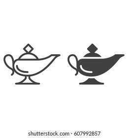 Magic oil lamp line and solid icon, outline and filled vector sign, linear and full pictogram isolated on white. Symbol, logo illustration