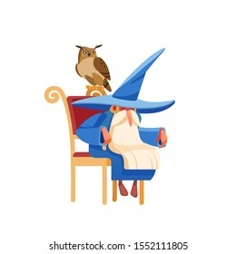 Magic old man enchanter or wizard character. Tired Old witch man in wizard robe sleeping or resting. Owl guards the sleep of the owner. Cartoon style vector isolated illustration