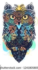 Magic owl celtic tattoo and t-shirt design