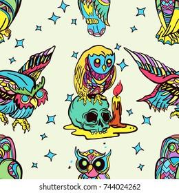 Magic Owl Old School Tattoo Vector Stock Vector Royalty Free