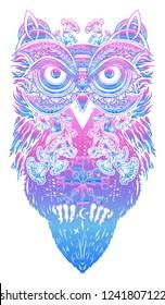 Magic owl tattoo and t-shirt design