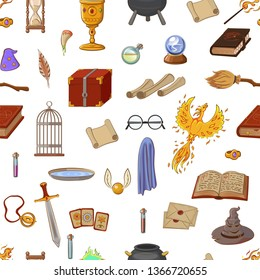 Magic pattern with: wizard, hat, magic book, roll, potion, broom, crystal ball, glasses, snitch. Different witch equipment in cartoon style. Vector illustration.