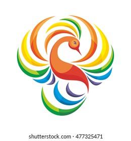 the magic Phoenix bird. a stylized image on white background