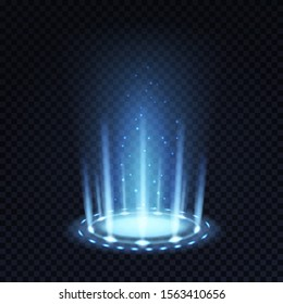 Magic portal. Realistic light effect with blue beam and glowing particles, futuristic teleport funnel 3d vector abstract isolated lighting flooring round concept