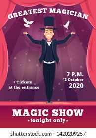 Magic poster invitation. Circus magician show placards vector template red curtains shows of wizard tricks vector background. Illustration of announcement magician shoew illusion