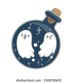 Magic potion: blue bottle jar set with ghost. Vector illustration isolated on white. Cute hand drawn round glass of potion. Happy Halloween.
