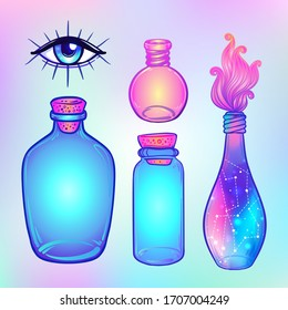 Magic potion: blue bottle jar set with pink moon, crystals, heart, all seeing eye and glowing stars inside. Greeting  Card. Vector illustration isolated on white. Alchemy concept.