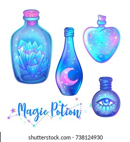 Magic potion: blue bottle jar set with pink moon, crystals, heart, all seeing eye and glowing stars inside. Greeting  Card. Vector illustration isolated on white. Valentine's day concept.