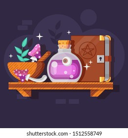 Magic potion bottle and recipe composition with fly agaric mushrooms, herbs and witchcraft spell book on wooden shelf. Alchemist laboratory concept with witchery ingredients and wizardry pink elixir.