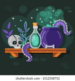 Magic potion bottle and recipe composition with human scull, bone, herbs and monster octopus tentacles. Alchemist laboratory scene with witch elixir ingredients boiling in wizardry cauldron on shelf.