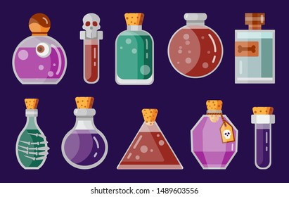 Magic potion bottles icon set for fantasy RPG game. Magician flasks and jars . Alchemy magic beverage elixir or poison icons. Gaming assets design elements.