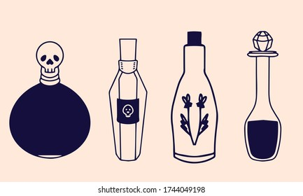 Magic potion, glass bottle engraving vector illustration. Magic potion occult attribute for witchcraft.